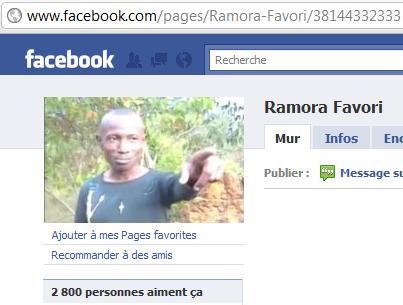 Copie ecran de la page facebook du chanteur Ramora Favori
